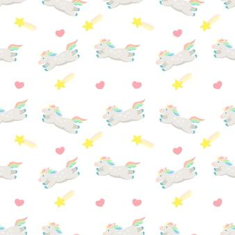 Eenhoorn naadloos patroon met eenhoorns vallende ster en hart schattige eenhoorn die over springt