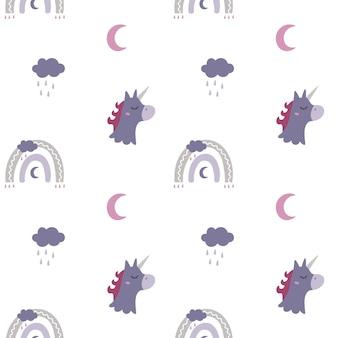Eenhoorn naadloos patroon met regenboogwolkmaan