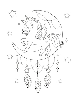 Eenhoorn op de maan fantasie kleurplaat