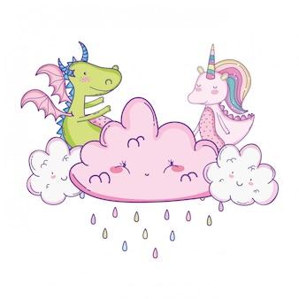 Eenhoorn op wolken leuke cartoons