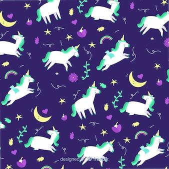 Eenhoorn patroon in vlakke stijl