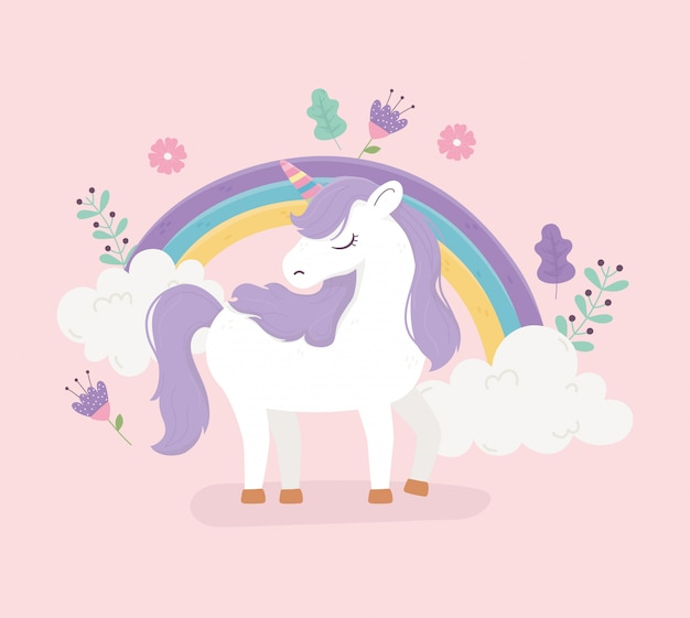 Eenhoorn regenboog bloemen bloemendecoratie fantasie magische droom leuke cartoon roze achtergrond afbeelding