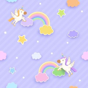 Eenhoorn regenboog naadloze patroon