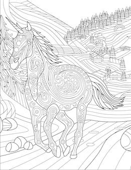 Eenhoorn rent weg van dorp met grote bomen kleurloze lijntekening mythisch gehoornd paard