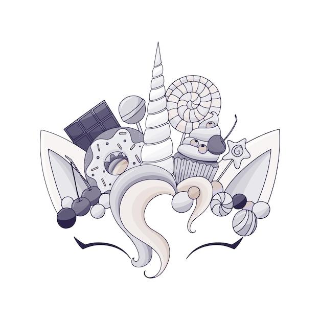 Eenhoorn schattig vectorillustratie. hoofd met snoep en cupcake. kaart- en shirtontwerp.
