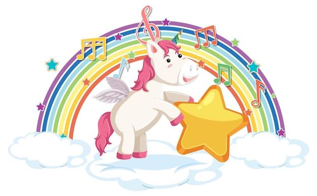 Eenhoorn staande op wolk met regenboog en melodiesymbool