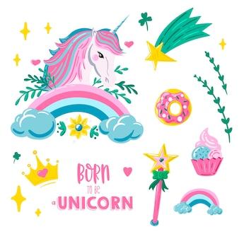 Eenhoorn sticker set met eenhoorn regenboog komeet donut cupcake en handgetekende letters Premium Vector