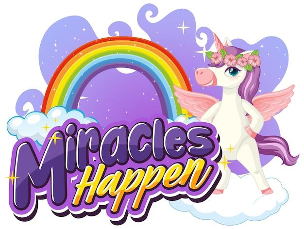 Eenhoorn stripfiguur met miracles happen-lettertype