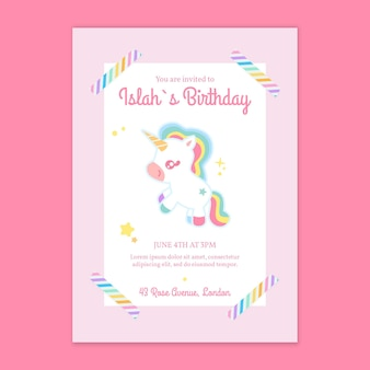 Eenhoorn verjaardagskaartsjabloon voor kinderen