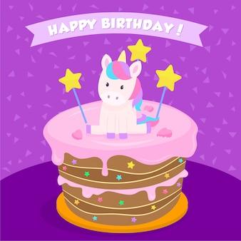Eenhoorn verjaardagstaart