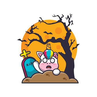 Eenhoorn zombie opkomst van kerkhof leuke halloween cartoon illustratie