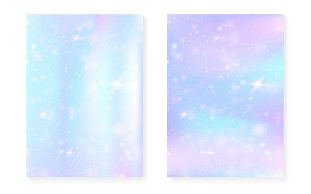 Eenhoornachtergrond met kawaii magisch gradiënt. prinses regenboog hologram.