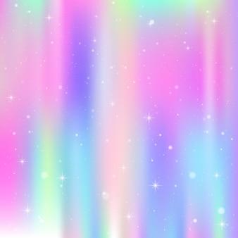 Eenhoornachtergrond met regenboognetwerk. kleurrijk universum in prinseskleuren. fantasie verloop met hologram.
