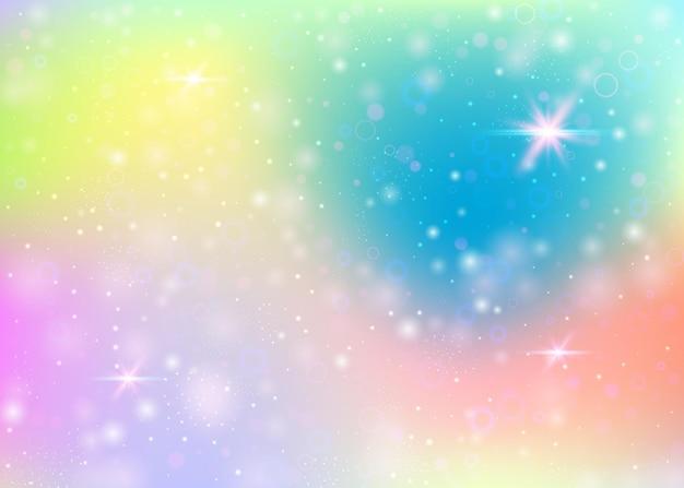 Eenhoornachtergrond met regenboognetwerk. leuke universumbanner in prinseskleuren. fantasie verloop achtergrond met hologram. holografische eenhoornachtergrond met magische fonkelingen, sterren en vervaagt.