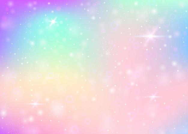 Eenhoornachtergrond met regenboognetwerk.
