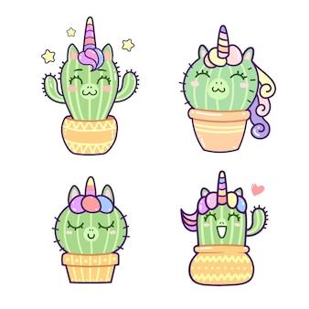 Eenhoorncactus die kawaiistijl, gelukkige beeldverhaalreeks glimlachen