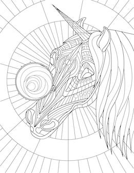 Eenhoornkop met mooie manen rond object op gezicht kleurloze lijntekening mythische gehoornde