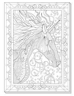 Eenhoornkop zijwaarts gericht in een rechthoekig frame kleurloze lijntekening mythisch gehoornd