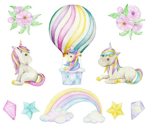 Eenhoorns, ballon, boeket bloemen, kristallen, regenboogwolken, sterren. aquarel set, op een geïsoleerde achtergrond.