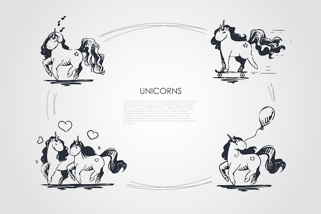 Eenhoorns concept set illustratie