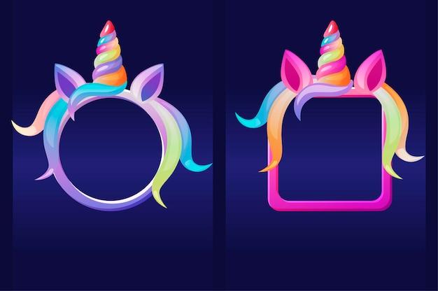 Eenhoorns frames, cartoon ronde en vierkante avatars voor grafisch ontwerp. vectorillustratie instellen schattige eenhoorn gezicht sjablonen voor games.