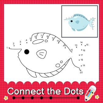 Eenhoornvis kinderpuzzel verbind de stippen werkblad voor kinderen die getallen 1 tot 20 tellen