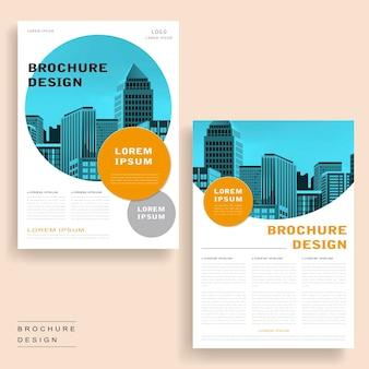 Eenvoud brochure sjabloonontwerp met stadslandschap en geometrische elementen