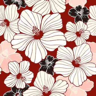 Eenvoud hibiscus naadloos patroon op rode achtergrond