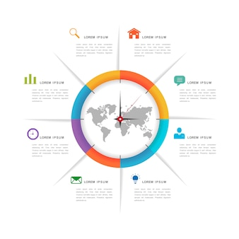 Eenvoud infographic ontwerp met cirkeldiagramelementen