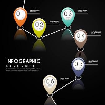 Eenvoud infographic ontwerp met kleurrijke markeringselementen