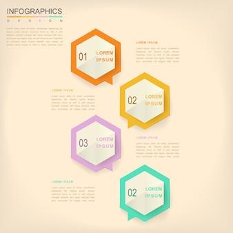 Eenvoud infographic ontwerp met zeshoekige tekstballonelementen