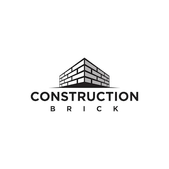 Eenvoudig bakstenen muurconstructie logo sjabloonelement