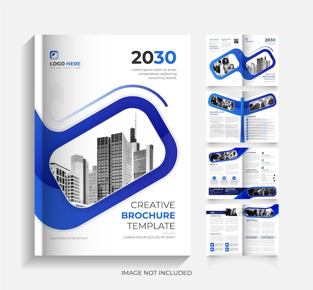 Eenvoudig bedrijfsbrochureontwerp van 8 pagina's