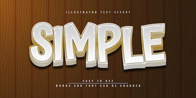 Eenvoudig bewerkbaar 3d-teksteffectsjabloonontwerp in illustrator