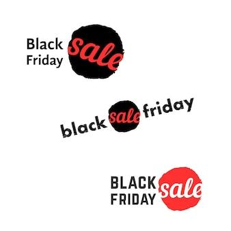 Eenvoudig black friday-verkooplogo. concept van titel, inktvlek of vlek, detailhandel, advertentie, commerciële uitnodigingen, jaarlijkse actie. vlakke stijl trend modern merk grafisch retro ontwerp op witte achtergrond