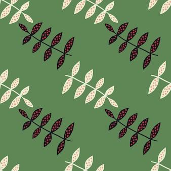 Eenvoudig bloemen naadloos patroon op groene achtergrond. plantkunde textuur. natuur behang. decoratief ornament. scandinavische stijl. ontwerp voor stof, textielprint, verpakking, omslag. vector illustratie.