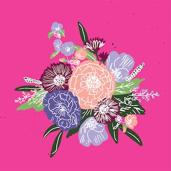 Eenvoudig bloemenboeketpatroon
