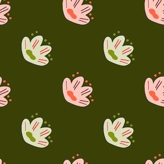 Eenvoudig botanisch naadloos patroon met groen en roze naïef bloemenornament