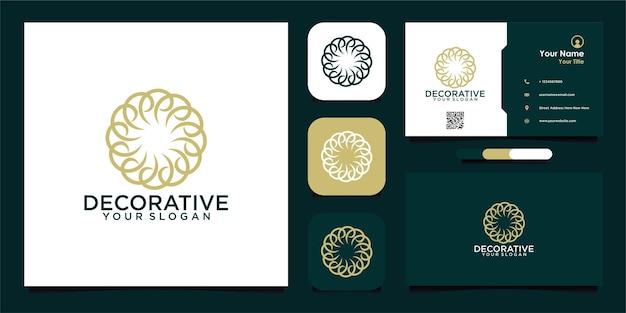 Eenvoudig decoratief logo-ontwerp en visitekaartje