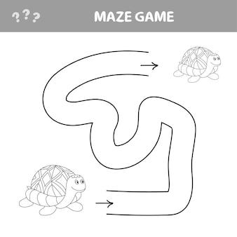 Eenvoudig doolhof voor jongere kinderen met een schildpad - vector