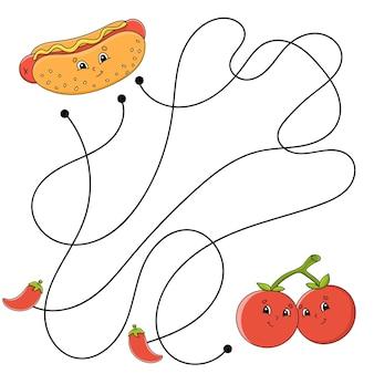 Eenvoudig doolhoflabyrint voor kinderen activiteitswerkblad