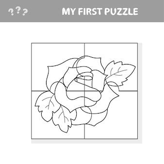 Eenvoudig educatief papierspel voor kinderen. red rose puzzle - mijn eerste puzzel- en kleurboek
