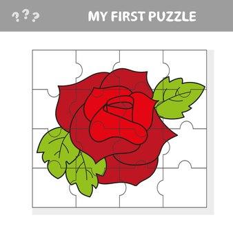 Eenvoudig educatief papierspel voor kinderen. red rose puzzle - mijn eerste puzzel