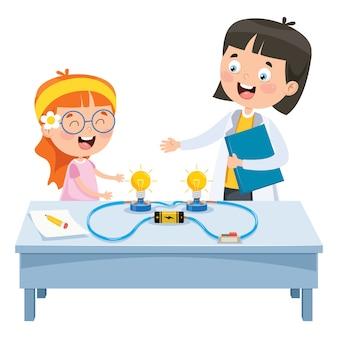 Eenvoudig elektrisch circuit experiment voor kinderen onderwijs