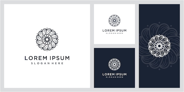 Eenvoudig en elegant bloemen monogram sjabloon vintage, logo ontwerp