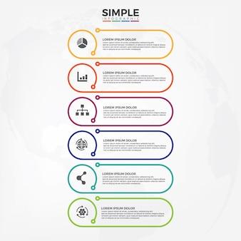 Eenvoudig en minimalisme stijlsjabloon infographic