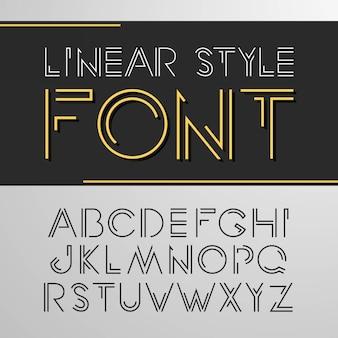 Eenvoudig en minimalistisch alfabet in lijnstijl
