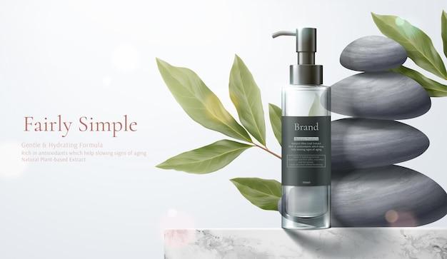 Eenvoudig en natuurlijk huidverzorgingsconcept productmodel op marmeren tafel met bladeren en zen-kiezelstenen