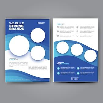 Eenvoudig en schoon blue business flyer-sjabloon