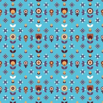 Eenvoudig folk bloemen naadloos patroon